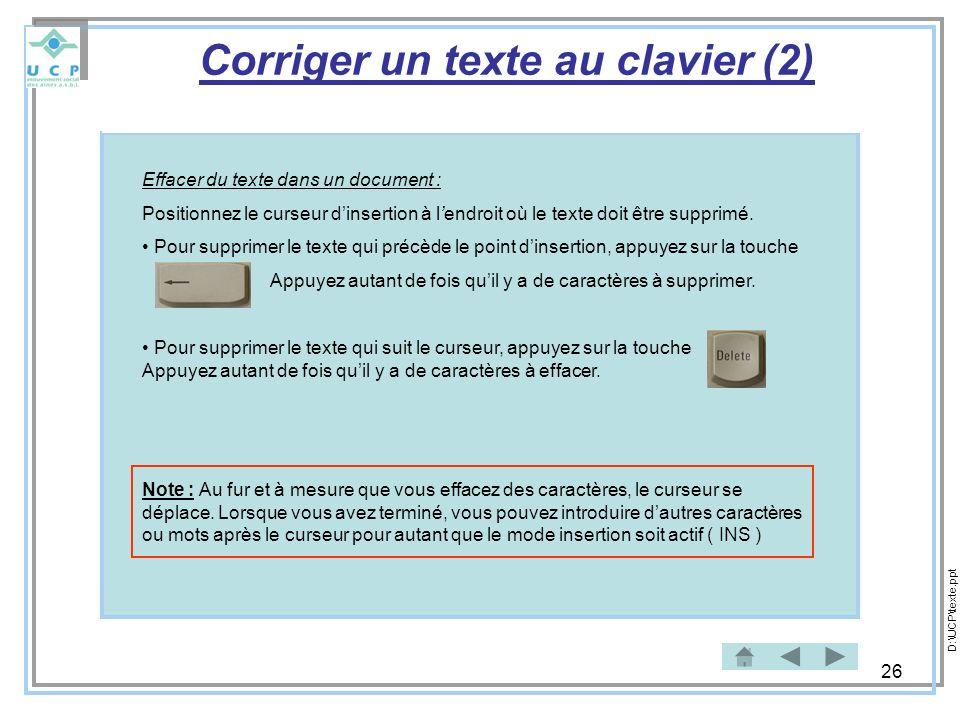 Corriger un texte au clavier (2)