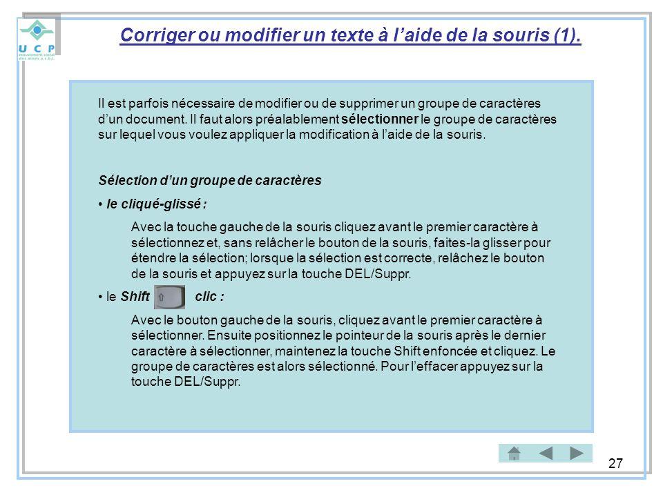 Corriger ou modifier un texte à l'aide de la souris (1).