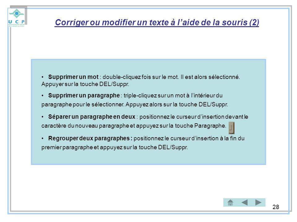 Corriger ou modifier un texte à l'aide de la souris (2)