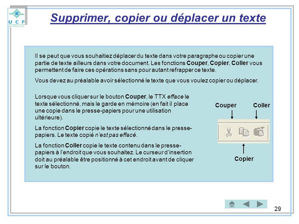 Supprimer, copier ou déplacer un texte