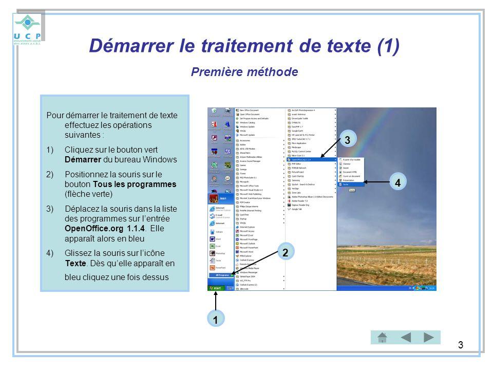 Démarrer le traitement de texte (1)