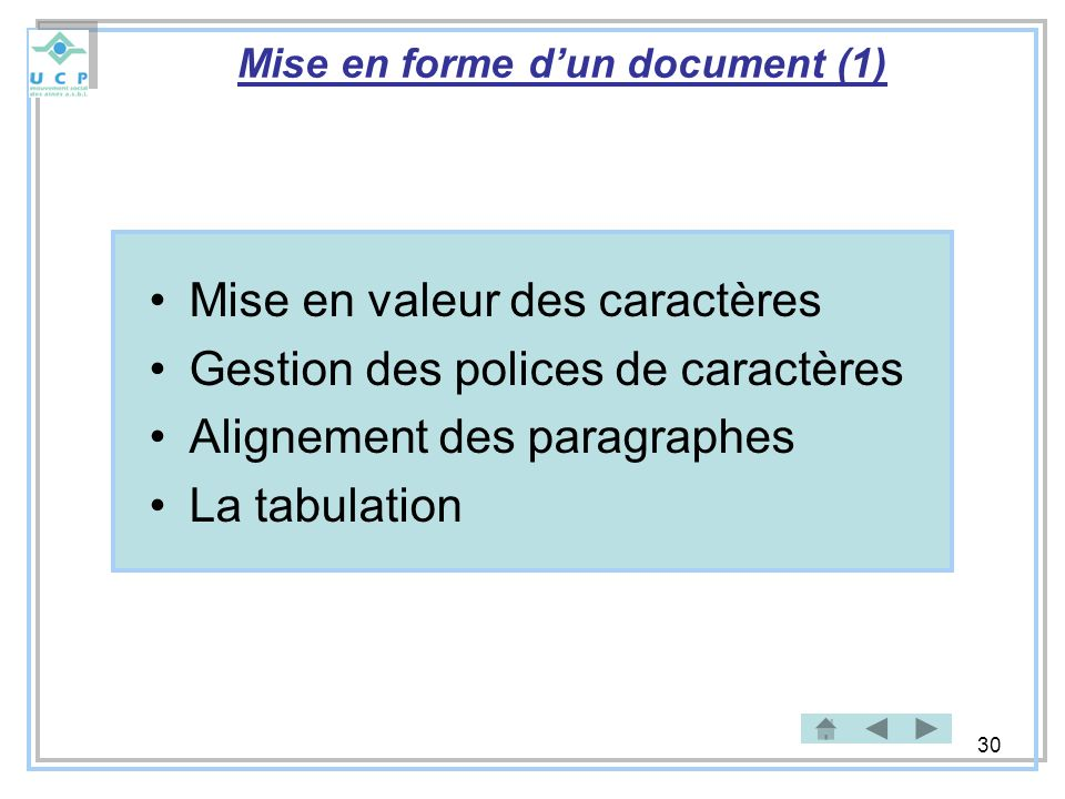 Mise en forme d'un document (1)