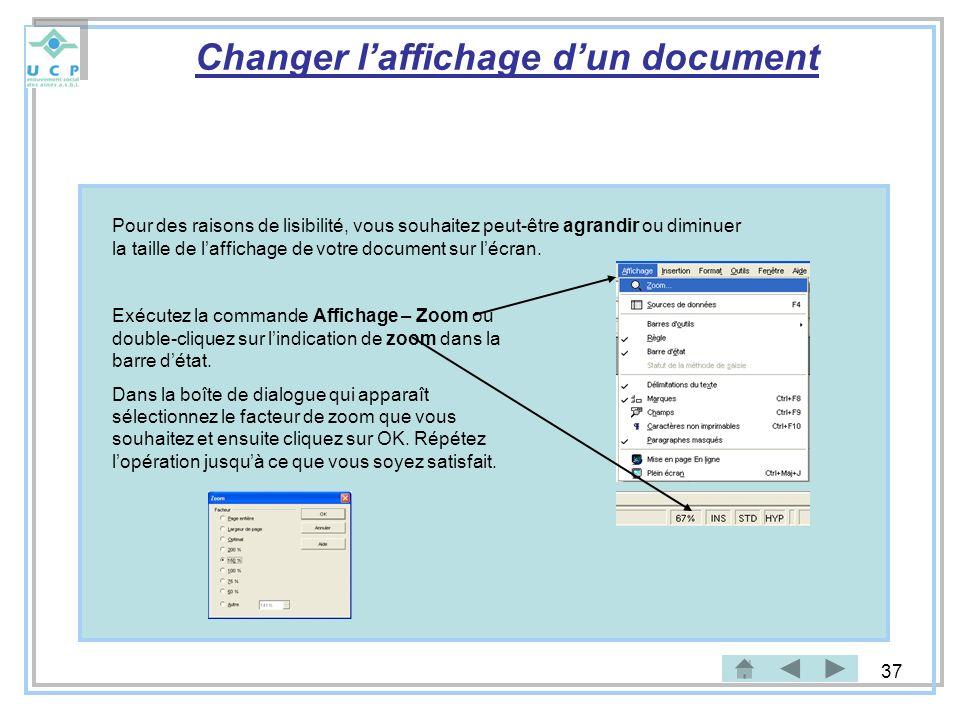 Changer l'affichage d'un document