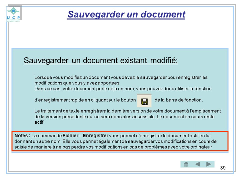 Sauvegarder un document