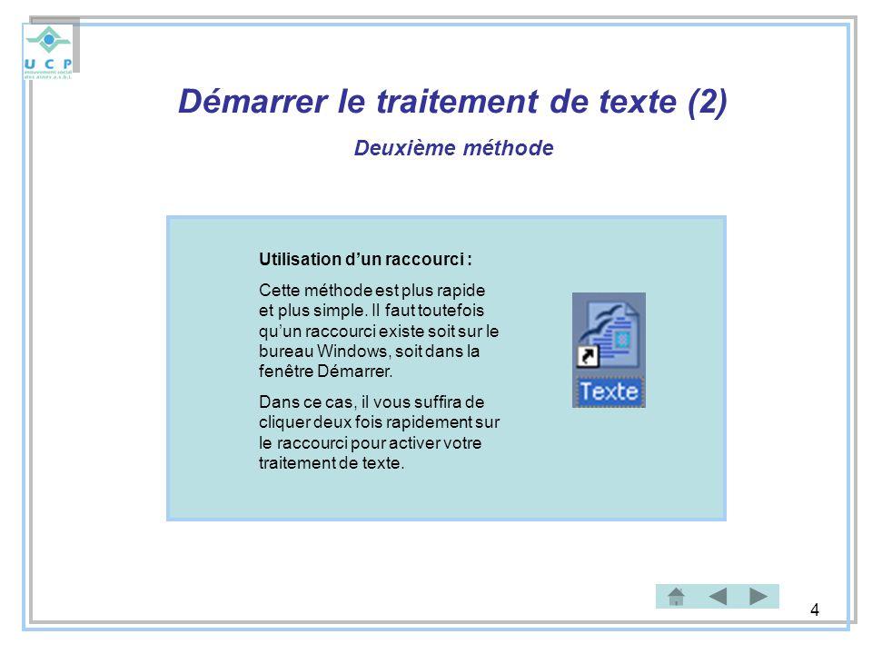 Démarrer le traitement de texte (2)