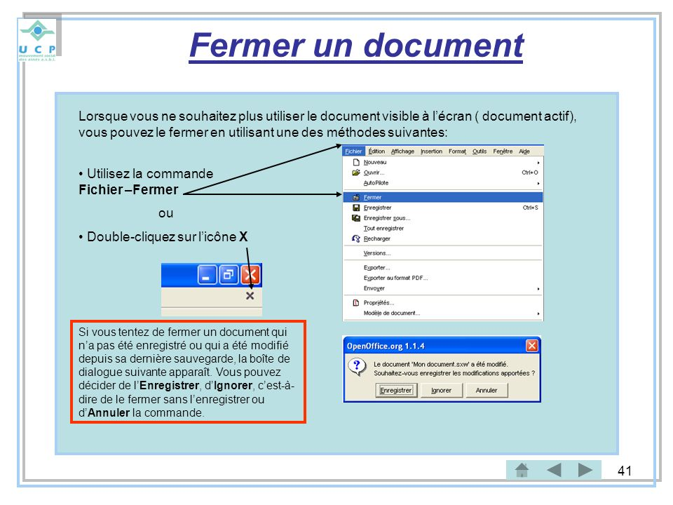 Fermer un document