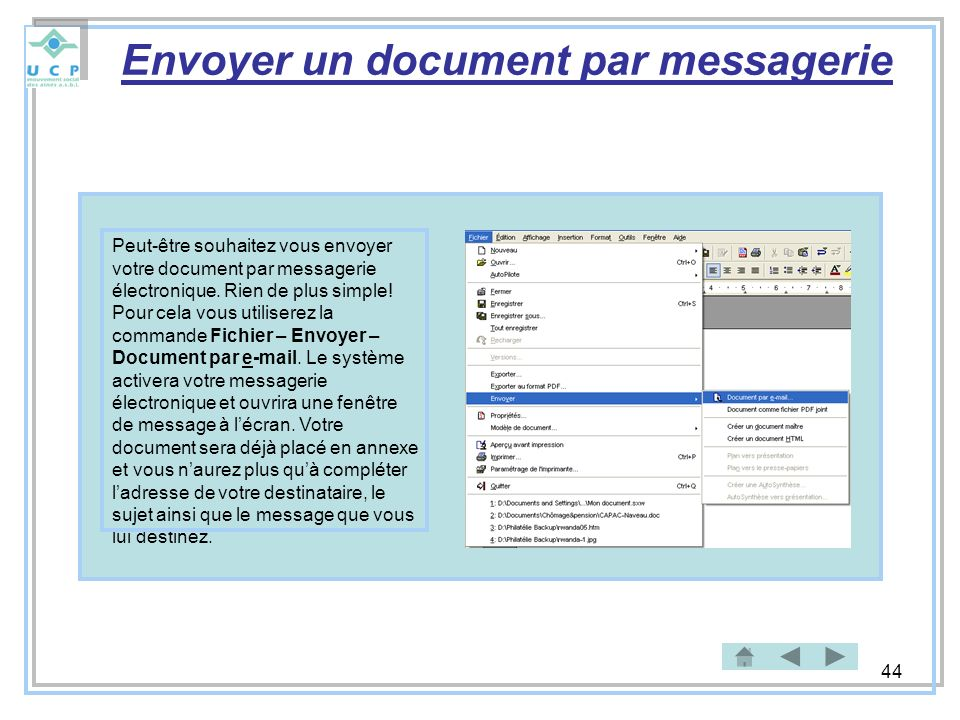 Envoyer un document par messagerie