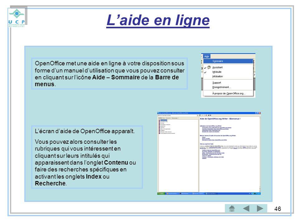 L'aide en ligne