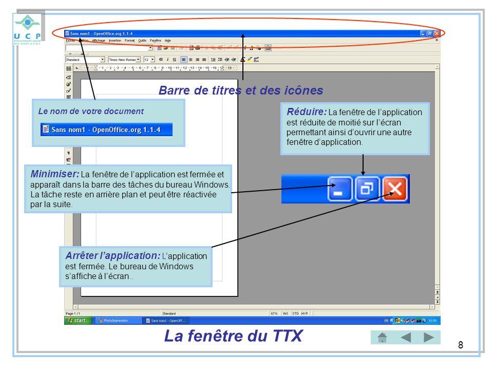 La fenêtre du TTX Barre de titres et des icônes
