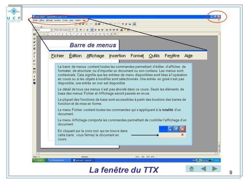 La fenêtre du TTX Barre de menus