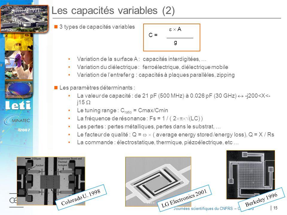 Les capacités variables (2)