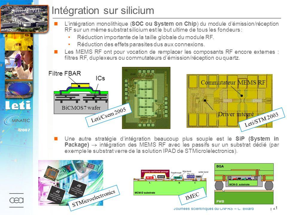 Intégration sur silicium