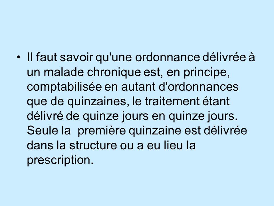 Il faut savoir qu une ordonnance délivrée à un malade chronique est, en principe, comptabilisée en autant d ordonnances que de quinzaines, le traitement étant délivré de quinze jours en quinze jours.