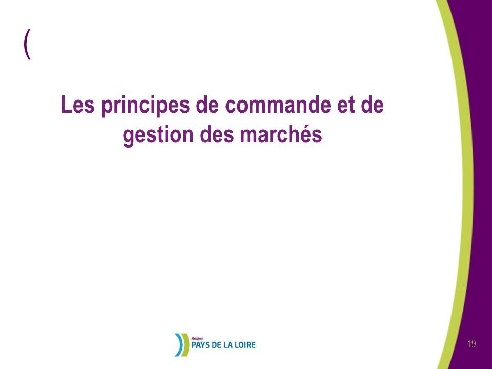 Les principes de commande et de gestion des marchés