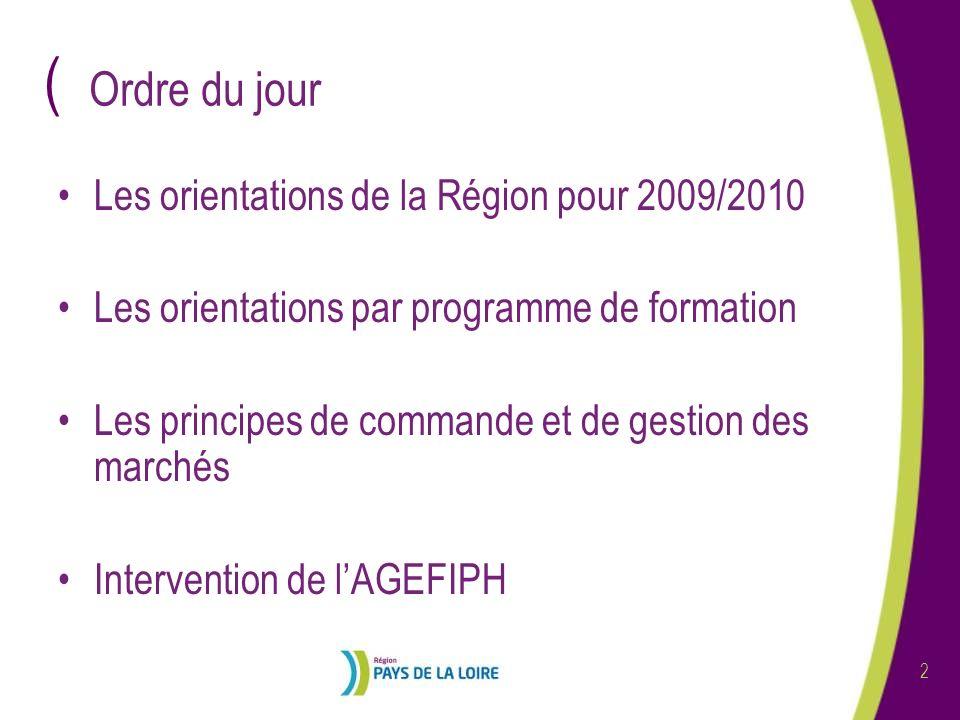 Ordre du jour Les orientations de la Région pour 2009/2010