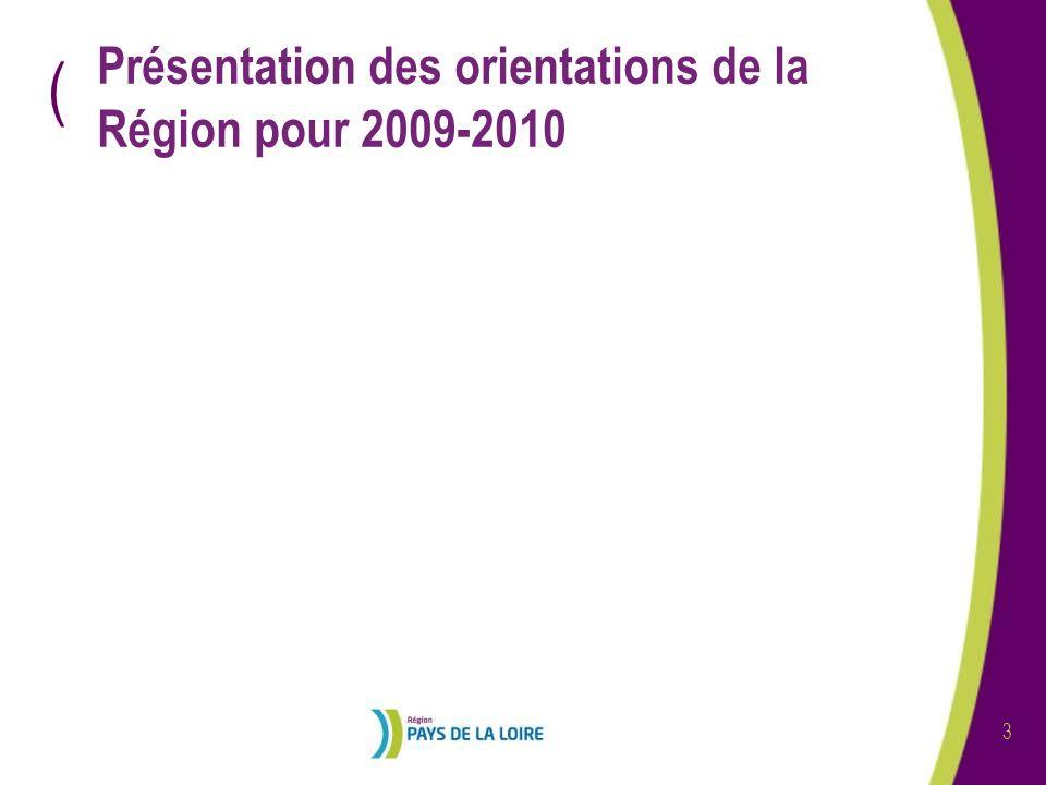 Présentation des orientations de la Région pour 2009-2010