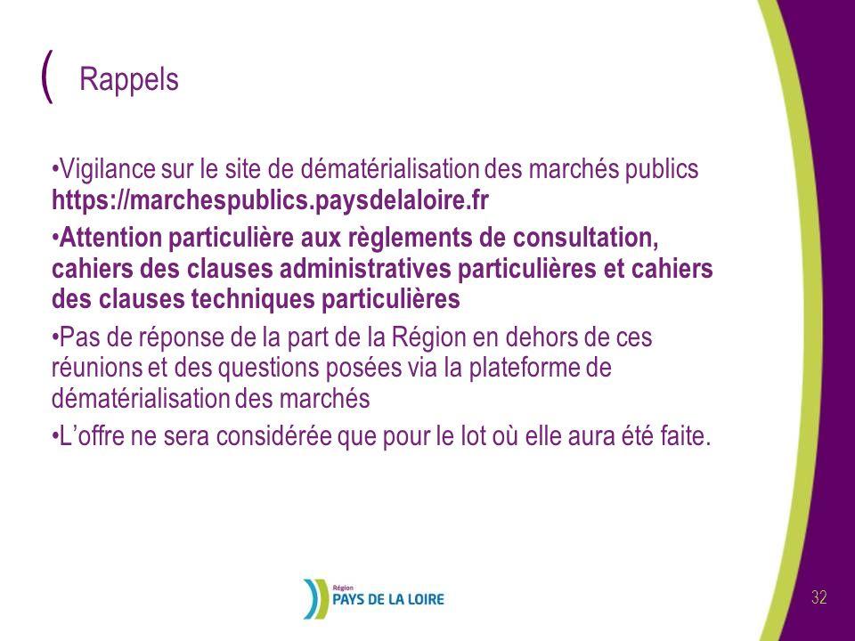Rappels Vigilance sur le site de dématérialisation des marchés publics https://marchespublics.paysdelaloire.fr.