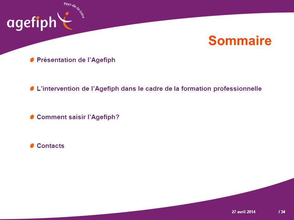 Sommaire Présentation de l'Agefiph