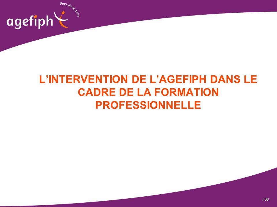 L'INTERVENTION DE L'AGEFIPH DANS LE CADRE DE LA FORMATION PROFESSIONNELLE