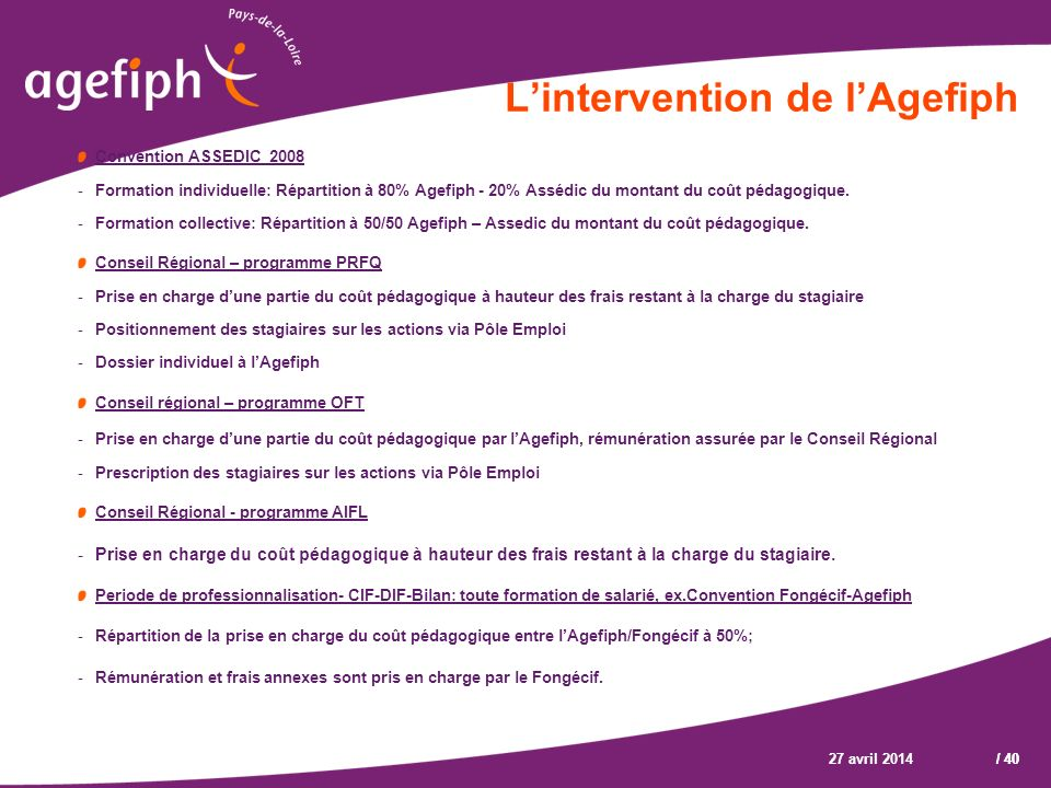L'intervention de l'Agefiph