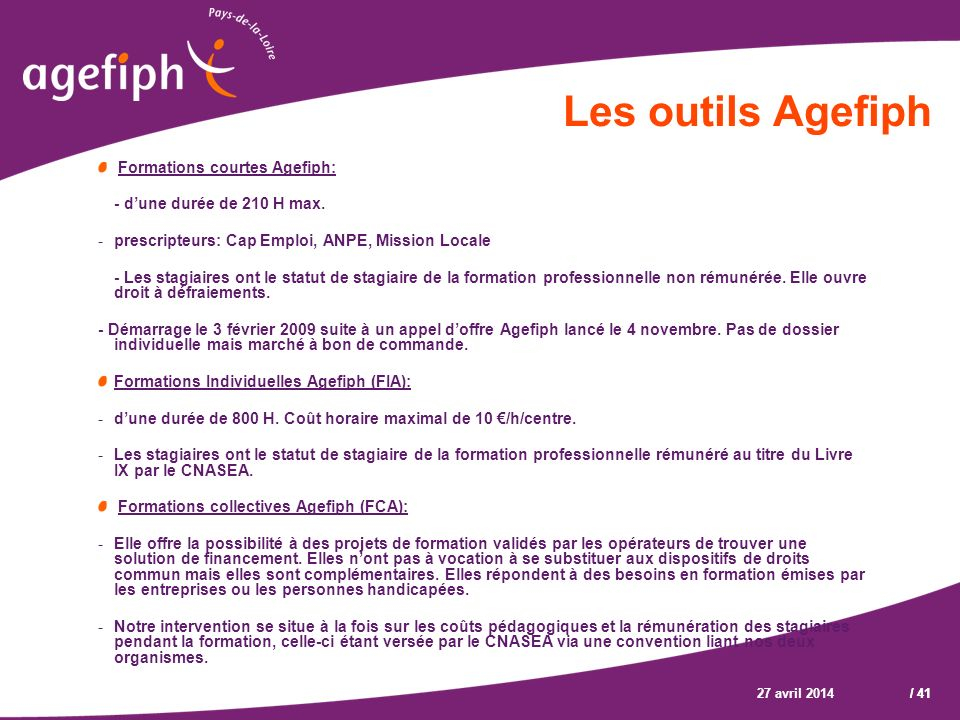 Les outils Agefiph Formations courtes Agefiph: