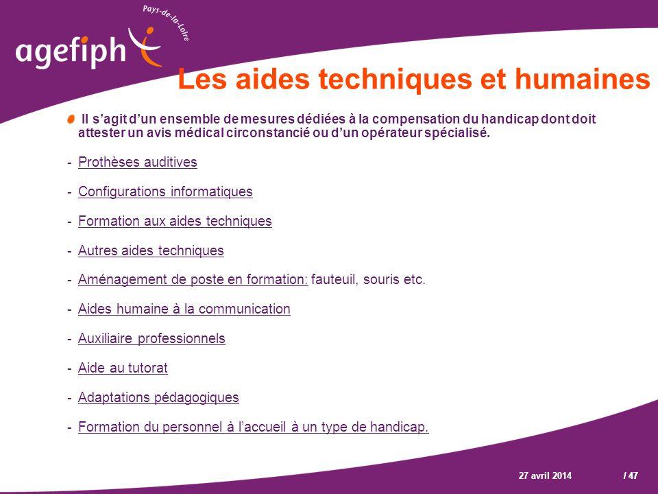 Les aides techniques et humaines