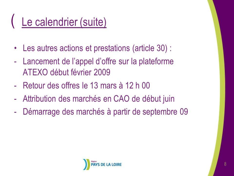 Le calendrier (suite) Les autres actions et prestations (article 30) :
