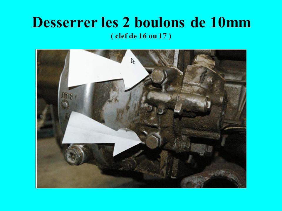Desserrer les 2 boulons de 10mm ( clef de 16 ou 17 )