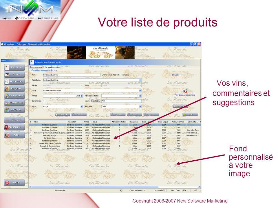 Votre liste de produits