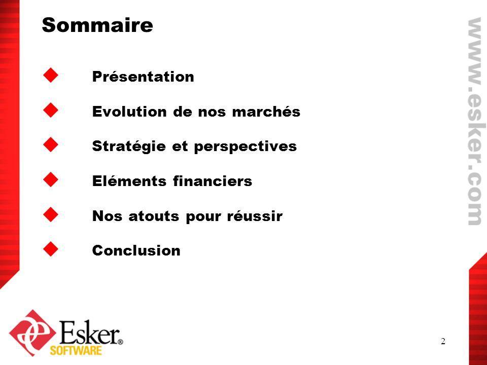 Sommaire Présentation Evolution de nos marchés