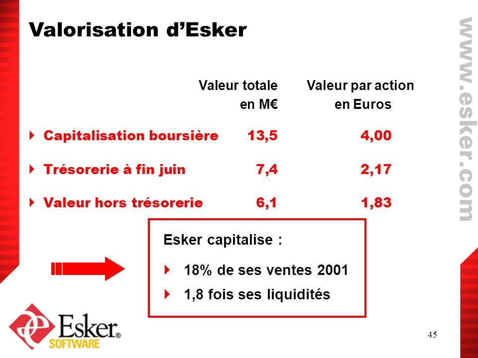 Valorisation d'Esker Esker capitalise : 18% de ses ventes 2001