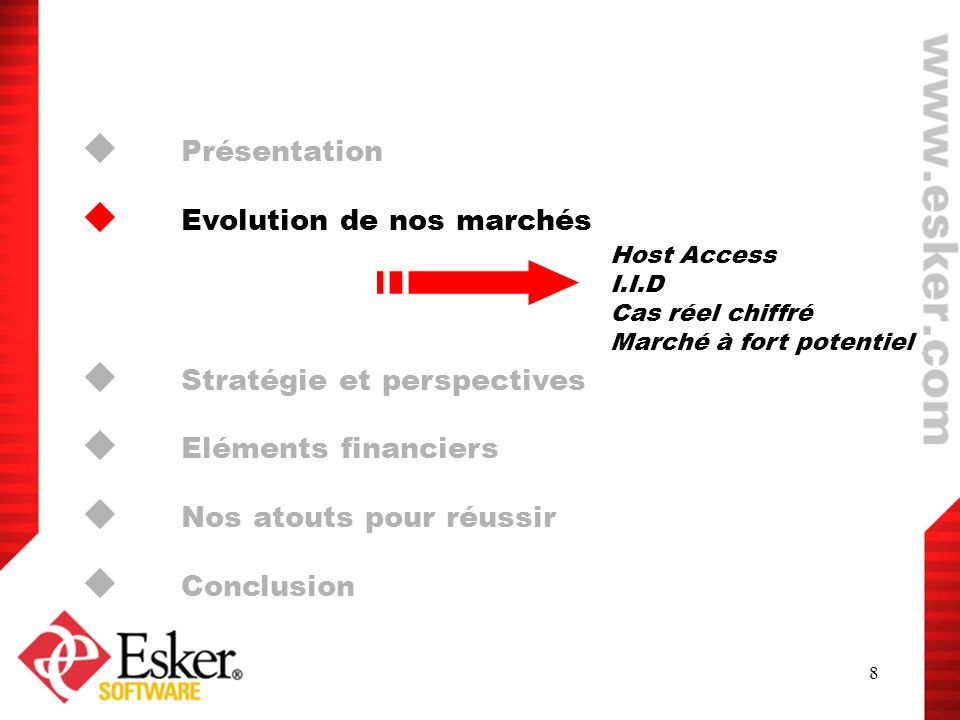 Evolution de nos marchés