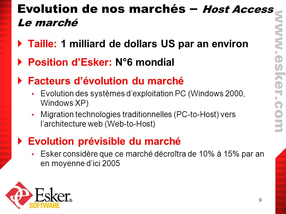 Evolution de nos marchés – Host Access