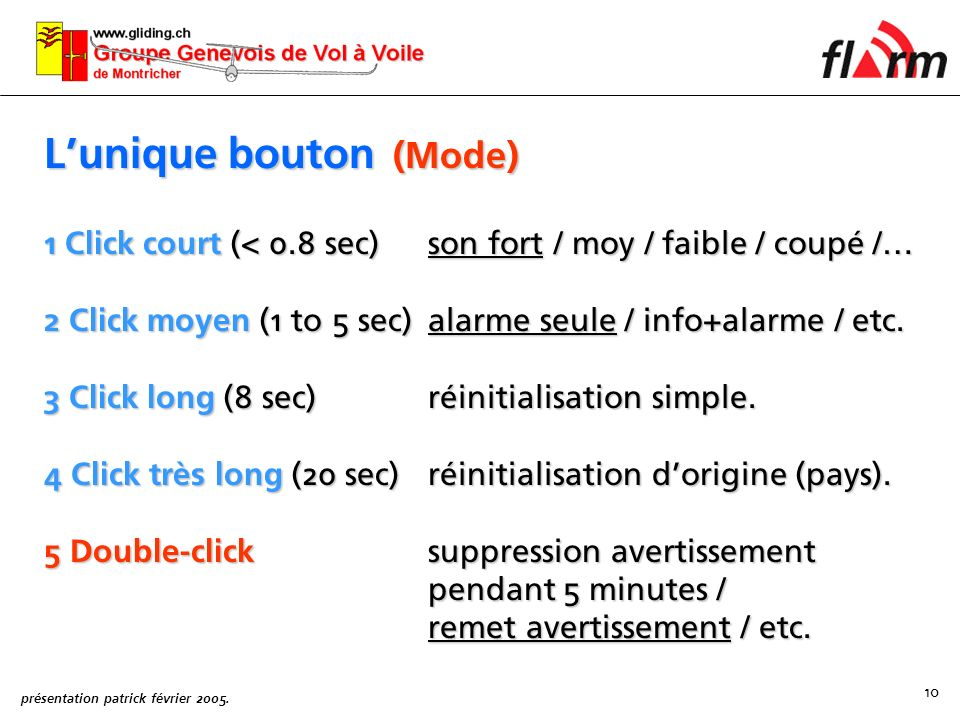 L'unique bouton (Mode)