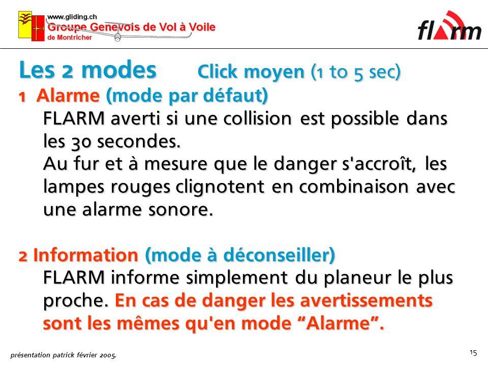 Les 2 modes Click moyen (1 to 5 sec)