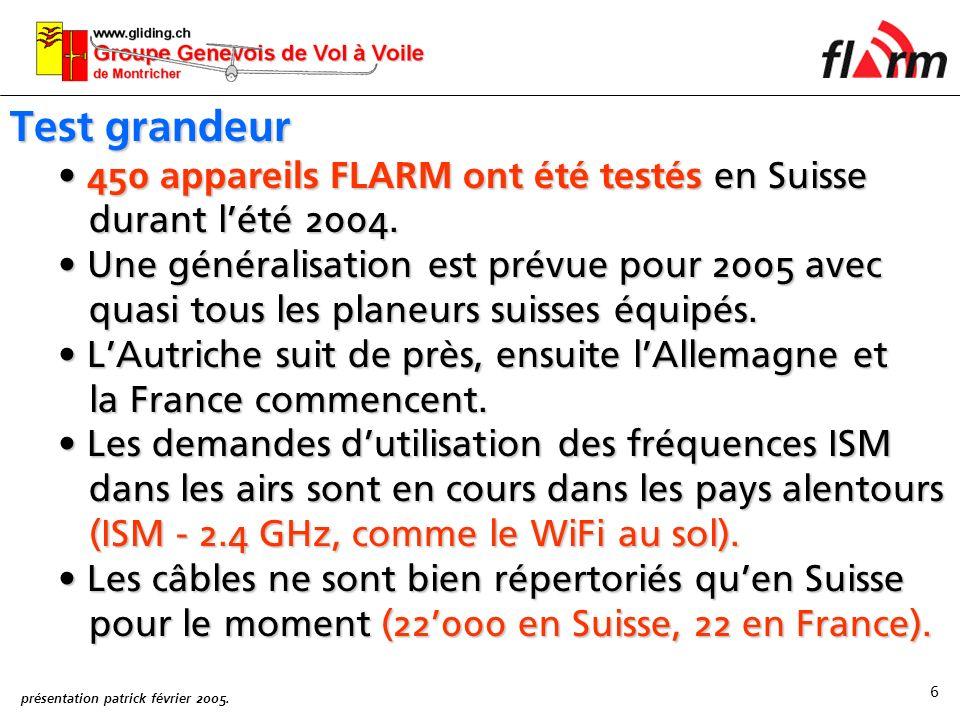 Test grandeur 450 appareils FLARM ont été testés en Suisse durant l'été 2004.