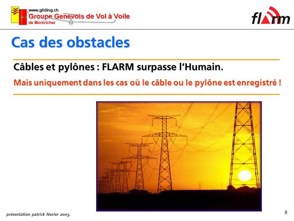 Cas des obstacles Câbles et pylônes : FLARM surpasse l'Humain.