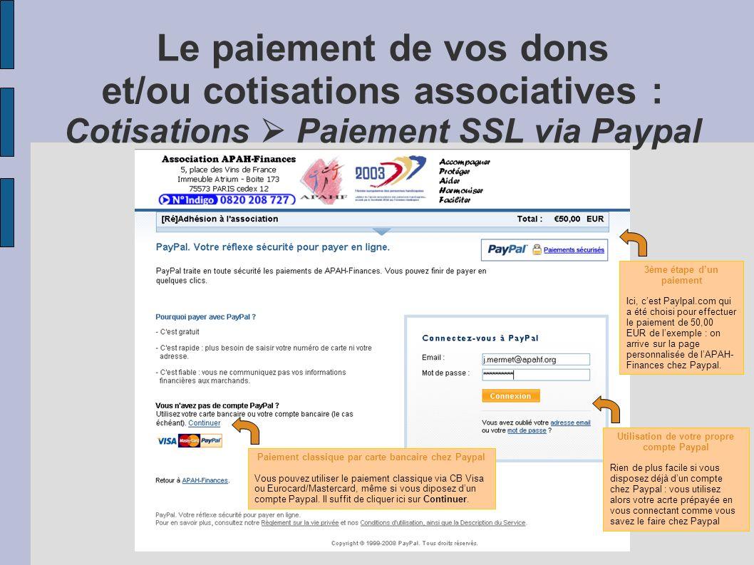 Le paiement de vos dons et/ou cotisations associatives : Cotisations  Paiement SSL via Paypal