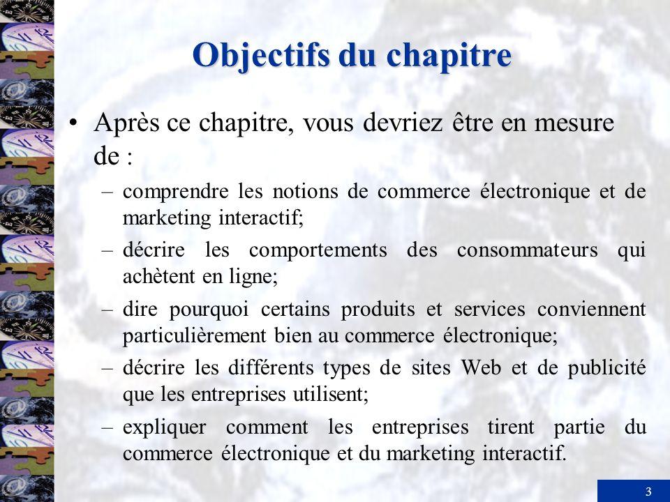 Objectifs du chapitreAprès ce chapitre, vous devriez être en mesure de : comprendre les notions de commerce électronique et de marketing interactif;