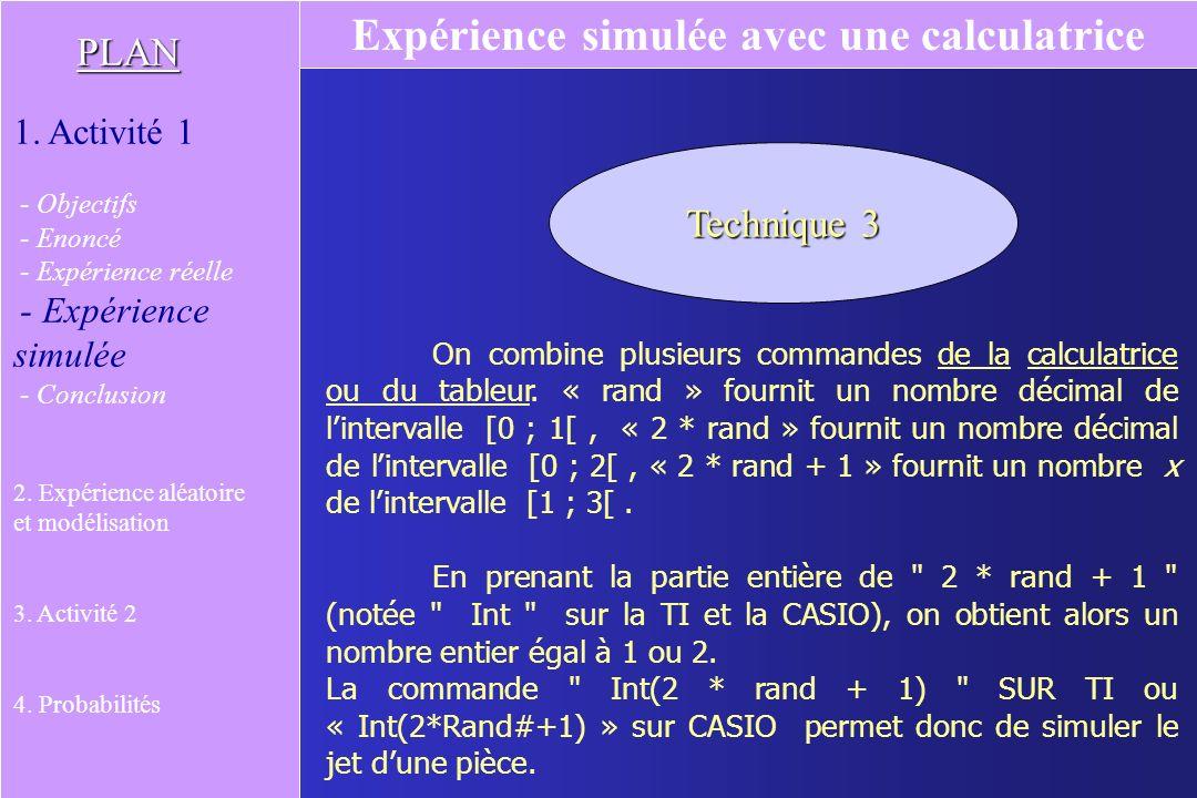 Expérience simulée avec une calculatrice