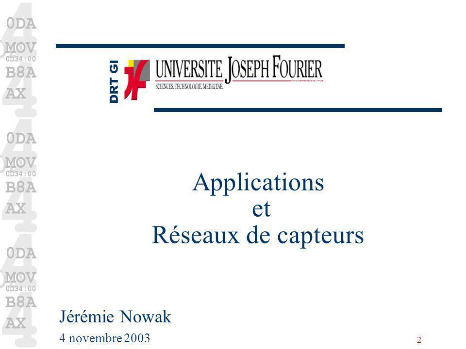 Applications et Réseaux de capteurs
