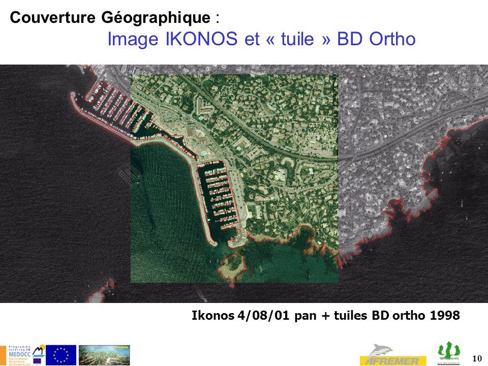 Couverture Géographique : Image IKONOS et « tuile » BD Ortho