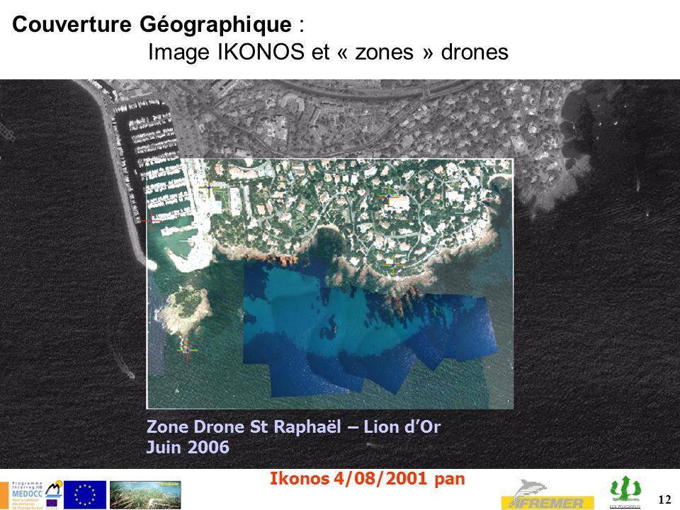Couverture Géographique : Image IKONOS et « zones » drones