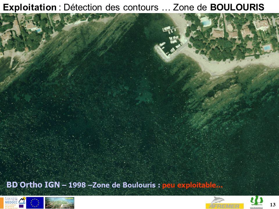 Exploitation : Détection des contours … Zone de BOULOURIS