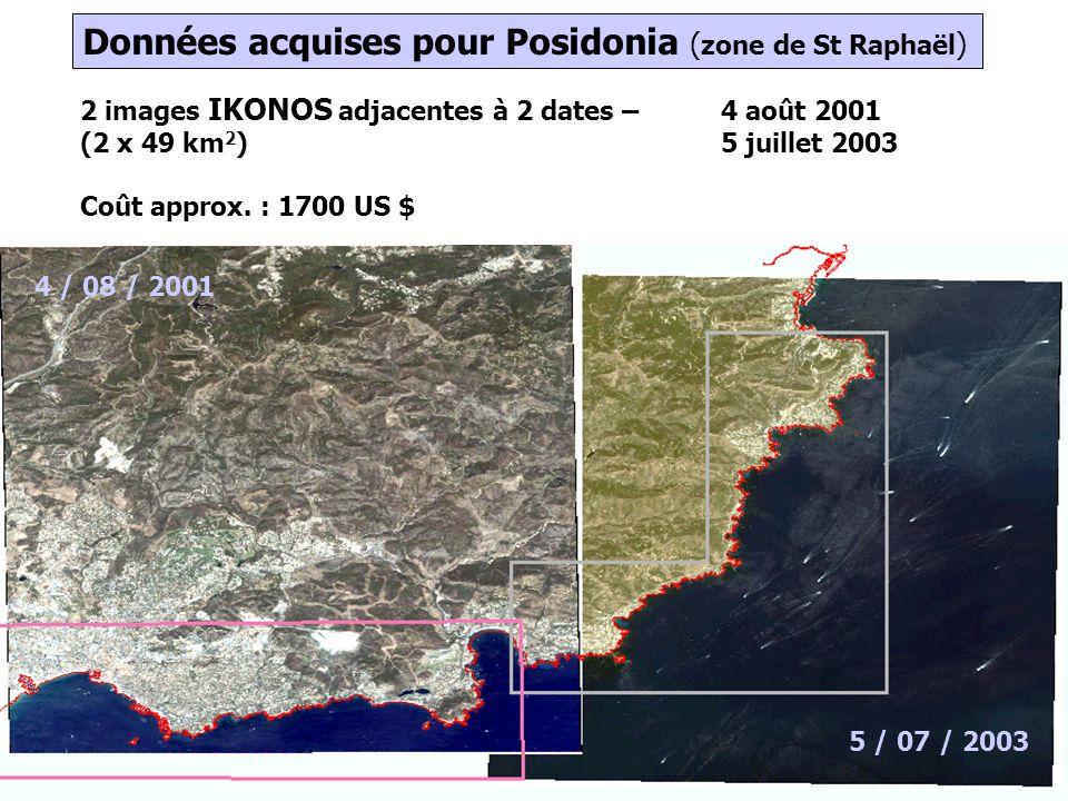 Données acquises pour Posidonia (zone de St Raphaël)