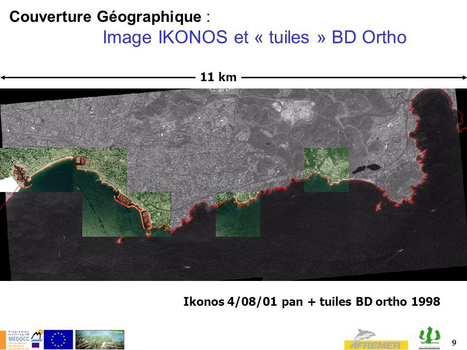 Couverture Géographique : Image IKONOS et « tuiles » BD Ortho