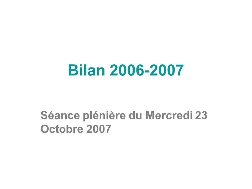 Séance plénière du Mercredi 23 Octobre 2007