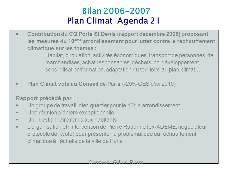 Plan Climat Agenda 21 Rapport précédé par :