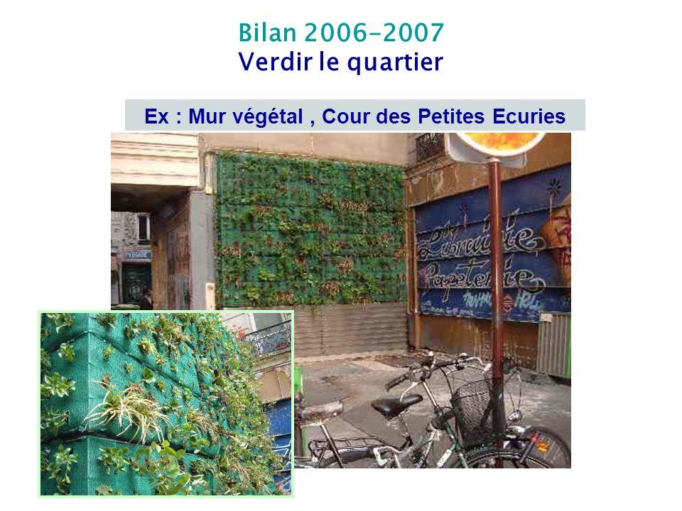 Ex : Mur végétal , Cour des Petites Ecuries