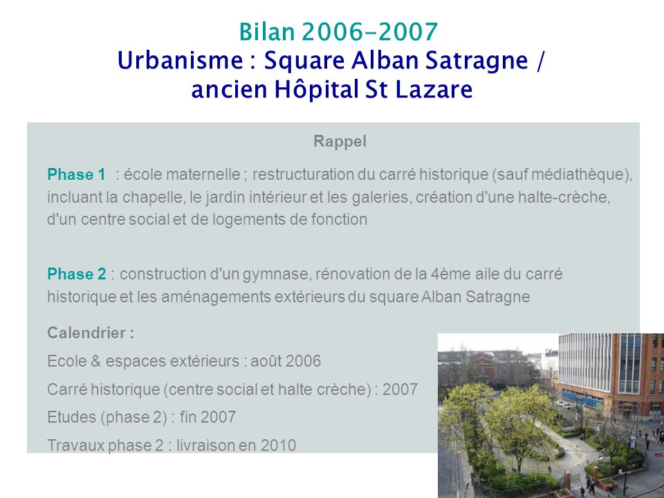 Urbanisme : Square Alban Satragne / ancien Hôpital St Lazare